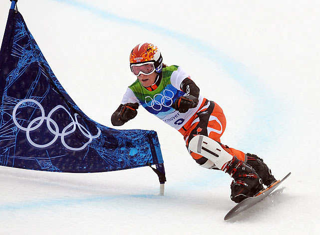 With rain turning the event into hydroplaning, Nicolien Sauerbreij of the Netherlands won the women's parallel giant slalom race. Rider after top rider kept going out, unable to handle the strange conditions. About the only one who handled them consistently was Sauerbreij, who was her country's flagbearer in 2002, but finished 24th.