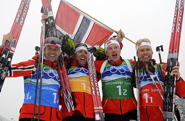 Norway's Ole Einar Bjoerndalen (left), 36, added to his tremendous Olympic resume by anchoring Norway's victory in the men's biathlon relay. This was his first gold medal since sweeping all four events in 2002, and the 11th medal of his career. That leaves him one behind Bjorn Daehlie's Winter Games record of 12. The Americans were 13th out of 19 countries.