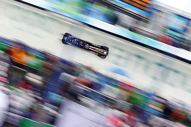 "Steve Holcomb and his sleek, black four-man bobsled known as the ""Night Train"" are halfway to gold. Officially known as USA-1, the sled set track records on both its runs, putting it in first place going into the last two heats Saturday night. The United States hasn't won this race since 1948."