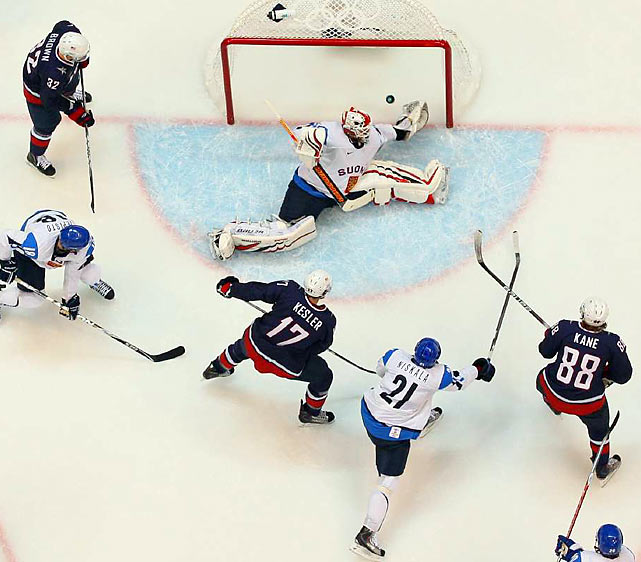 Ryan Malone, Zach Parise, Erik Johnson and Patrick Kane all scored in the first 10:08, sending goalie Miikka Kiprusoff to the bench and pretty much sealing any doubt in Team USA's 6-1 thrashing of Finland in an Olympic semifinal.