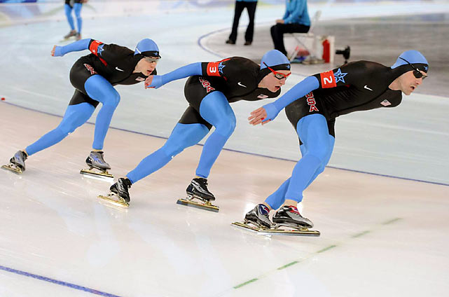Retiring U.S. speedskater Chad Hedrick and a pair of 19-year-old teammates came in second in the men's team pursuit, finishing just behind Canada.