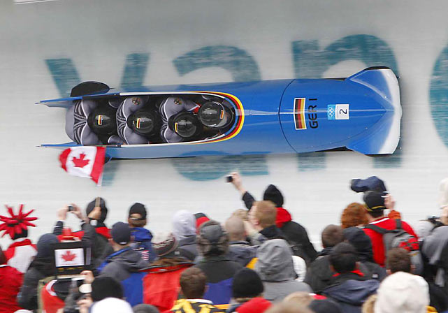 Germany's Andre Lange, who had won all four Olympics races he's ever entered, finished second in the four-man bobsled.