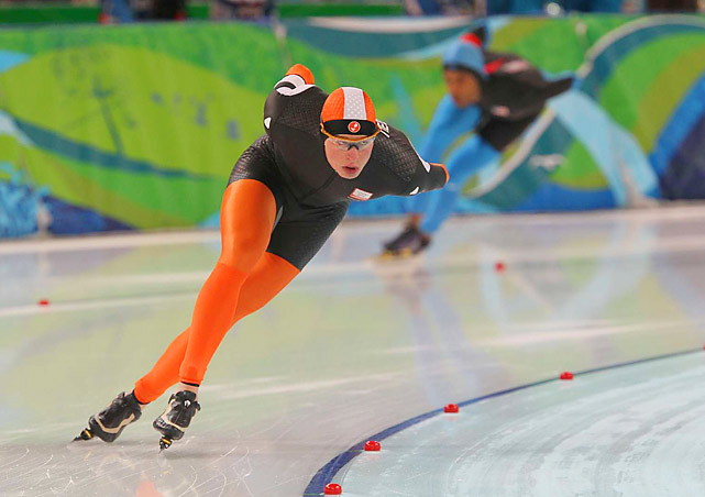 Dutch speedskater Sven Kramer grabbed gold in the 5,000 meters and set an Olympic record during the competition with a time of 6 minutes, 14.60 seconds. That shaved six-hundredths of a second off Jochem Uytdehaage's record set at altitude in Salt Lake City in 2002.