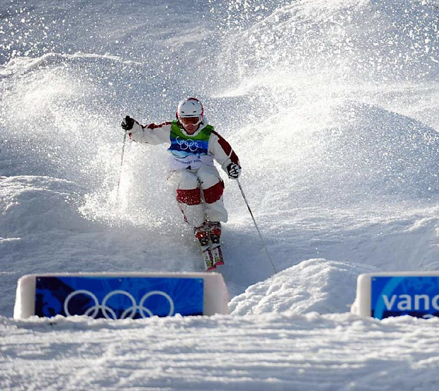 Alexandre Bilodeau blazed through the slushy moguls, tore down the course in 23.17 seconds and posted a score of 26.75. When the final skier, Guilbaut Colas of France, had his sixth-place score flashed on the board, the Canadian crowd went crazy.