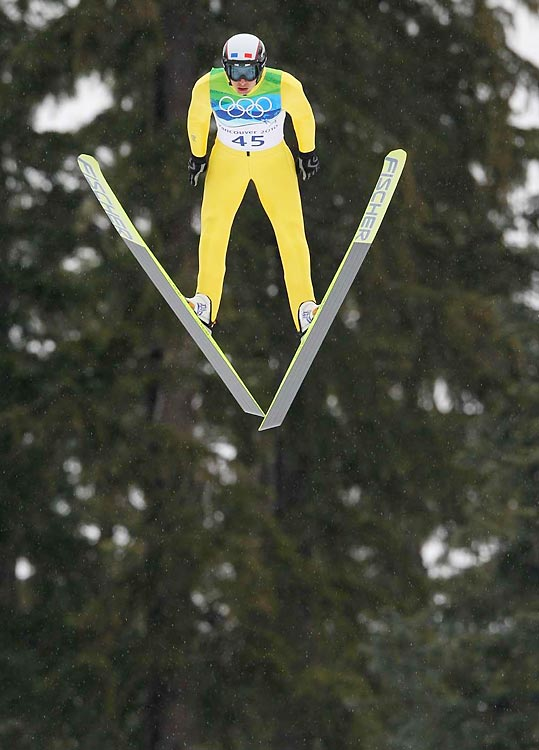 In an event that begins with one jump on the normal hill and concludes with a 10-kilometer cross-country race, Jason Lamy Chappuis's jump put him 46 seconds ahead of his nearest competitor heading into the cross-country race.