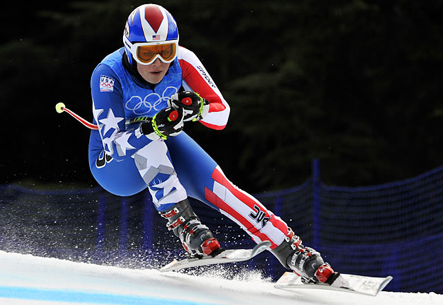 Injured U.S. skiing hopeful Lindsey Vonn finally made her first training run on Monday, finishing with the fastest time in the field on the upper section of the course. A bumpy afternoon run on the lower section left her hobbling again.