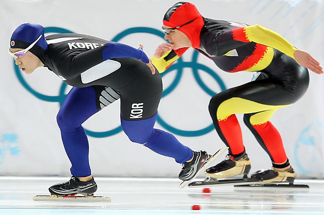 German world-record-holder Jenny Wolf (right) and China's Wang Beixing had won the eight World Cup races this season in the 500-meter speedskating event, but both were upstaged on Tuesday by Lee Sang-hwa of South Korea (left), who walked away with the gold.