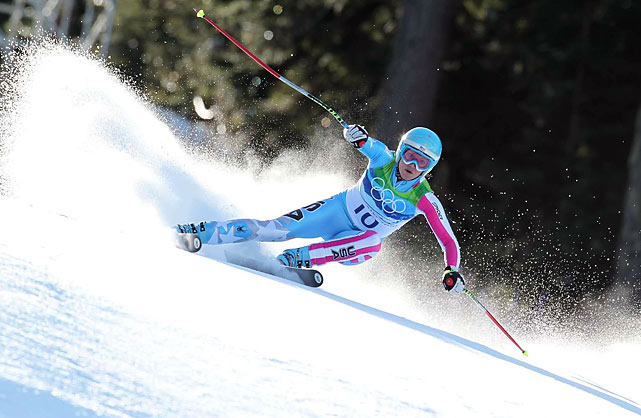 American Julia Mancuso earned silver in the downhill, giving the U.S. its first 1-2 finish in an Olympic Alpine event since 1984.