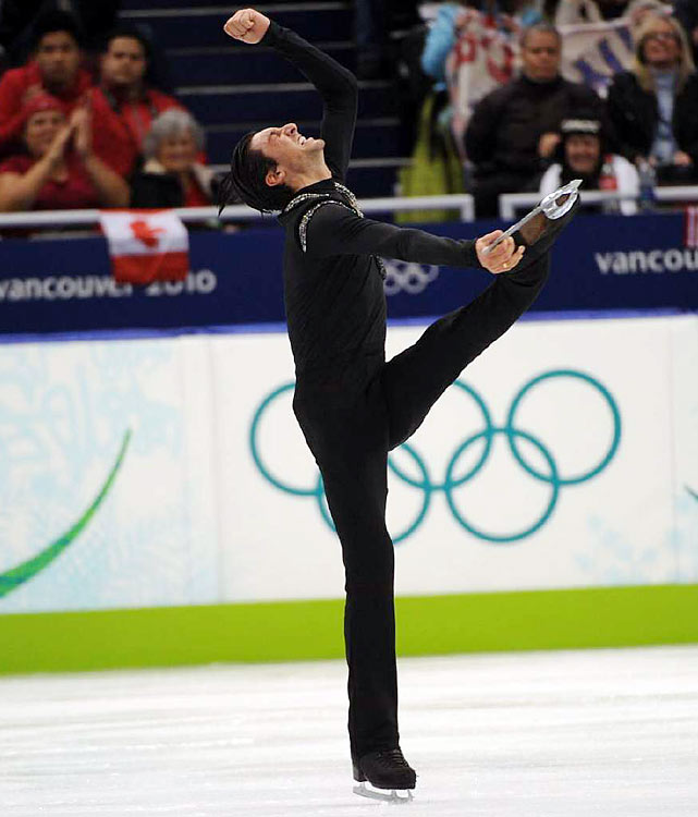 "The last note of his music was still fading when Lysacek pumped his fists and screamed, ""Yes! Yes! Yes! Yes!"" He clapped his hands and skated to center ice, throwing his arms out wide to the crowd and blowing kisses."