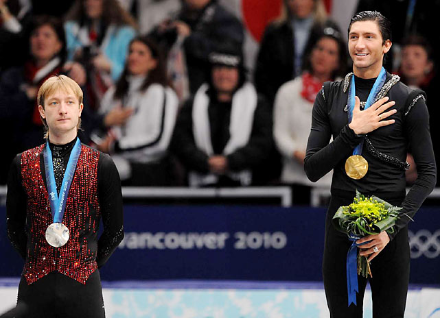 """If the Olympic champion doesn't know how to jump a quad, I don't know,"" Plushenko (far left) said. ""Now it's not men's figure skating, now it's dancing."" To which Lysacek responded, ""If it was a jumping competition, they'd give you 10 seconds to go do your best jump. But it's about 4 minutes and 40 seconds of skating and performing from start to finish. ""That was my challenge tonight, and I feel like I did quite well."""