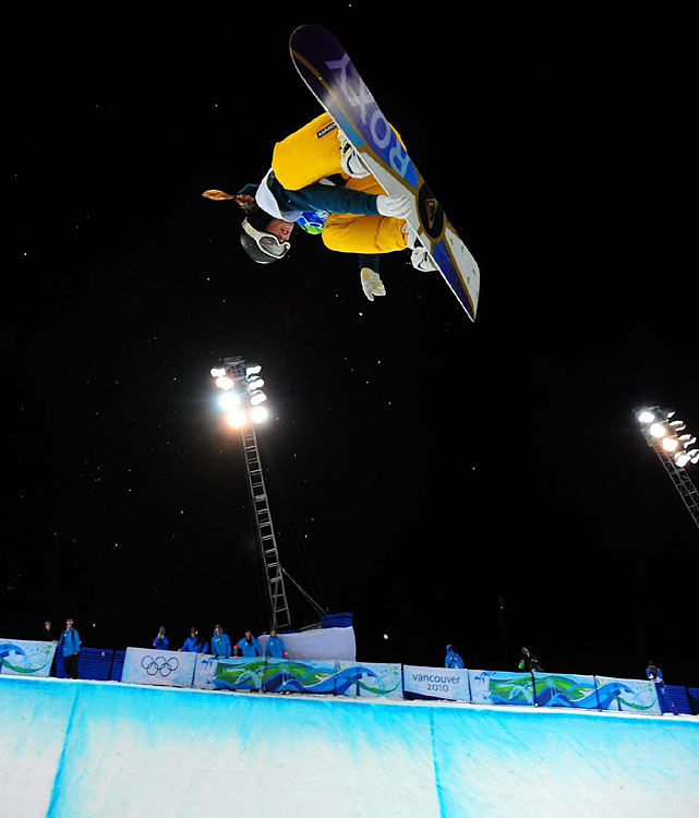Australia's Torah Bright was in last place after the first run of the women's half-pipe, but nailed her jumps in the second go-round and won gold in the women's half-pipe.
