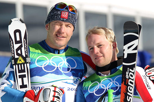 Bode Miller (left) picked up his second medal of the Olympics by earning a silver in the super-G.