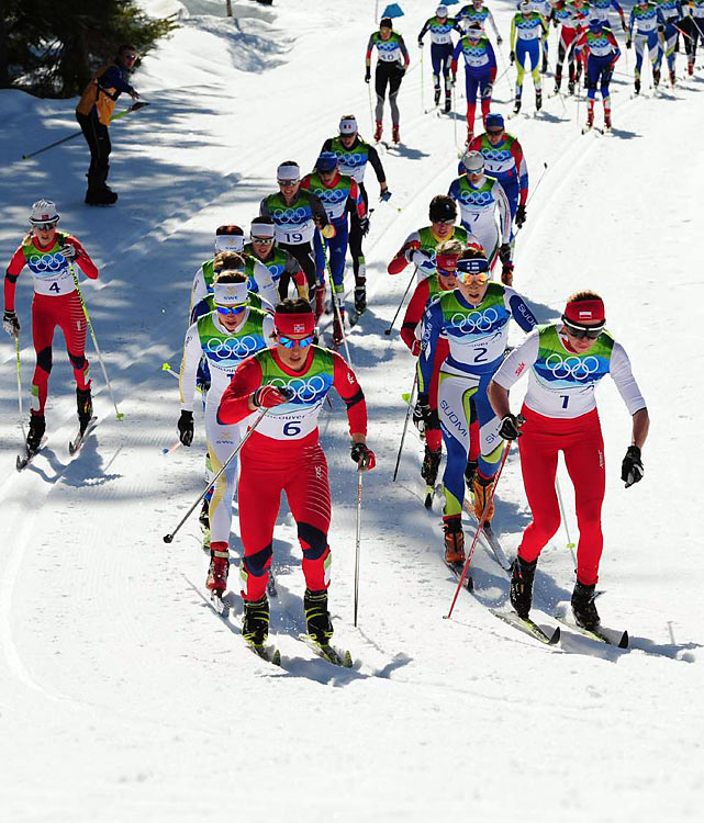 Norway has the second-most golds with five, boosted by victories in two events. Aksel Lund Svindal won the super-G and Marit Bjoergen (No. 6) won the women's 15-kilometer pursuit. Bjoergen also became the first winner of multiple gold medals in Vancouver and the first with three medals.