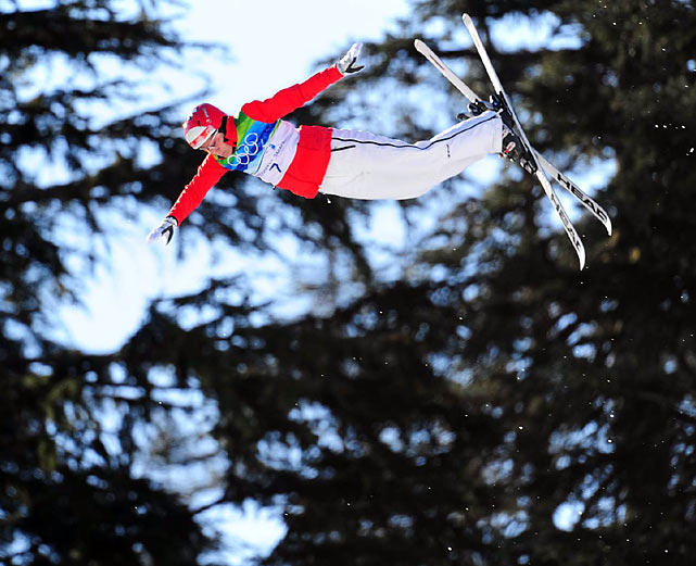 Defending champion Evelyn Leu of Switzerland fell on her second of two jumps in the qualifying round of freestyle aerials and did not make the final 12.