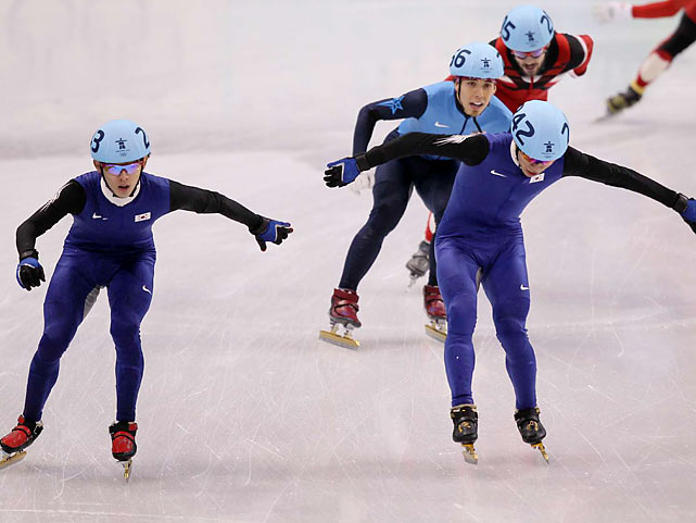 Lee Jung-su (far left) of South Korea won his second gold in Vancouver, this time in the short-track 1,000-meter, and teammate Lee Ho-suk earned the silver. The Koreans claimed four of the six short track medals awarded.