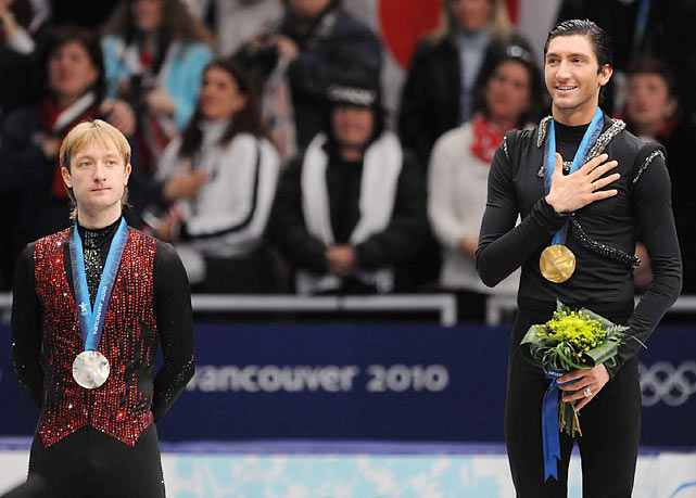 In one of the Olympics' most surprising upsets, Evan Lysacek of the U.S. (right) beat out Russian skater and defending champion Evgeni Plushenko for the gold medal in figure skating. Lysacek became the first American man since Brian Boitano (1988) to take the top spot.