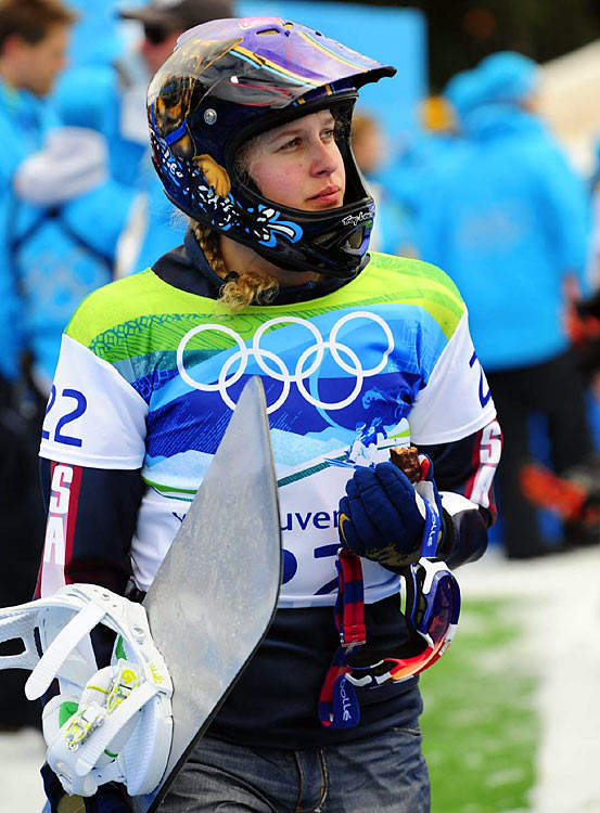 Vermont-native Lindsey Jacobellis was gunning for the snowboardcross gold medal after letting one slip from her grasp at the Turin Olympics in 2006. But the high hopes were dashed when a rough landing caused her to barrel into a gate and run off course, an automatic disqualification.