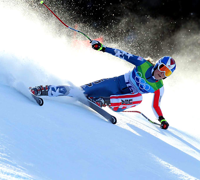 """Still recovering from a severely bruised shin that threatened to derail her Olympic hopes, Lindsey Vonn became the first American woman to win the downhill in a Winter Games. """"This is the best day of my life, by far,'' she said afterward. She went on to snag the bronze in the super-giant slalom as well."""