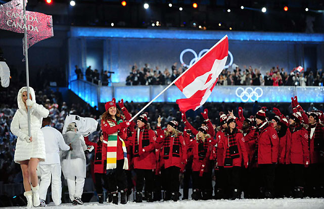 The loudest ovation came midway through, when the red-clad Canadian team -- aiming for a first-place finish -- entered the stadium as the last contingent of the parade of nations.