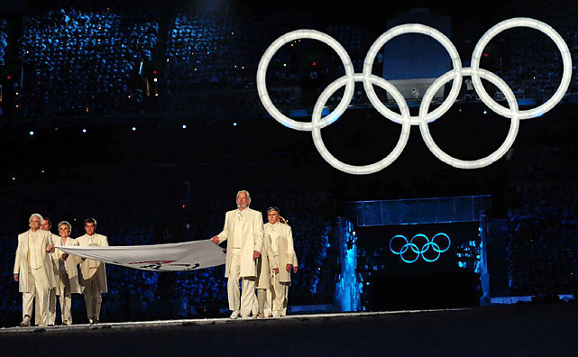 The Games began with a colorful indoor ceremony involving a host of stars linking Canada's past with its present.