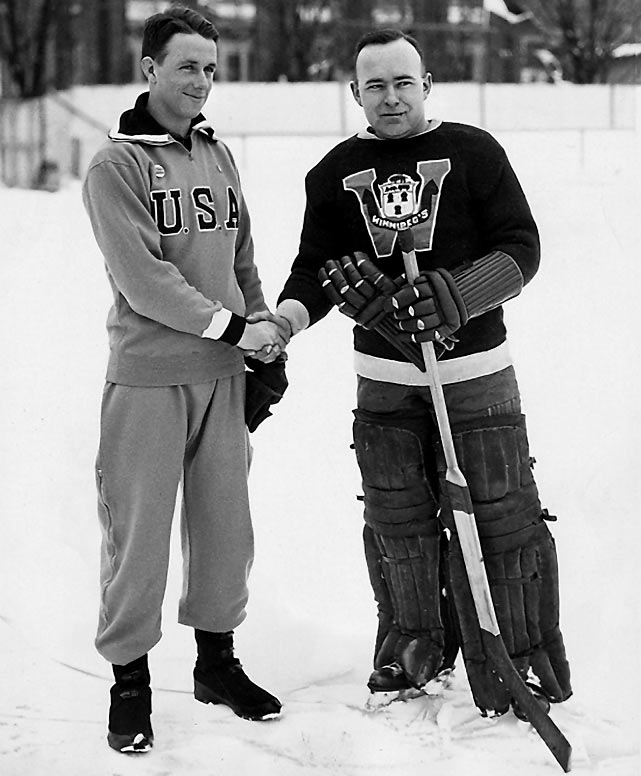 Trying to make the most of their home ice advantage, the Americans scheduled the games at the 1932 Lake Placid tournament for an outdoor rink, the better to nullify the skill advantage of the powerful Canadian squad. It nearly worked in the opener, with the Canucks needing double OT to eke out a 2-1 win. But when the two sides met again in the decisive match with the U.S. needing a victory, the plan backfired. The teams were deadlocked at 2-2 after regulation and played three scoreless overtimes before the game was called because of darkness. The tie gave the Canadians the gold by virtue of their better tournament record.