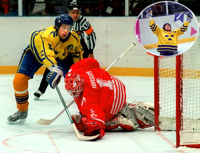 It was the move that inspired a postage stamp, spawned a thousand imitators and sent Corey Hirsch's jock flying into the fifth row. Arguably the most dramatic goal in Olympic history, Forsberg's stunning cross-body feint in the seventh round of the 1994 shootout shattered the hearts of Canadians and carried Sweden to its first Olympic gold medal. While the deke has come to be known as the Forsberg, he credits its innovation to Kent Nilsson, who used it to beat John Vanbiesbrouck of Team USA at the 1989 World Championships.
