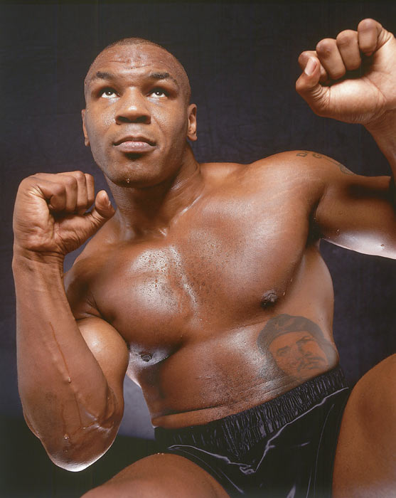 Mike Tyson shows off his boxing stance.