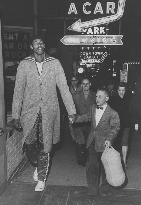 Having hit 6 feet when he was 10 years old, Chamberlain was treated like a star in his hometown of Philadelphia. In 1955, he took his height and fame to Kansas.