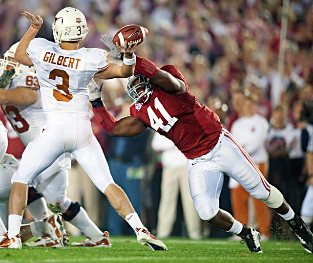 True freshman QB Garrett Gilbert, forced into the action after an injury to starter Colt McCoy, could not escape the relentless pressure from Courtney Upshaw and the rest of the Tide defenders.