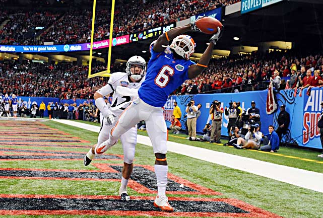 Limited by injuries for much of the season, Deonte Thompson showed his athletic ability in the Sugar Bowl, grabbing five catches for 63 yards and reaching for this touchdown.