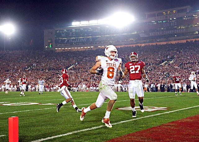 Jordan Shipley was a non-factor in the first-half, but his two second-half scores sparked Texas' comeback attempt.