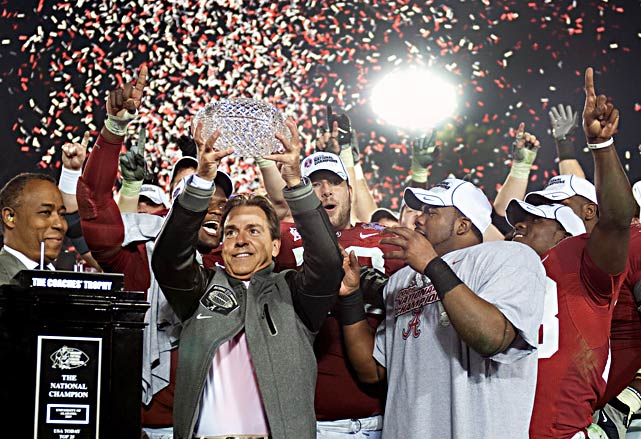 Nick Saban and the Crimson Tide hold up the championship hardware after disposing of Texas in Pasadena to win Alabama's first national title since 1992.