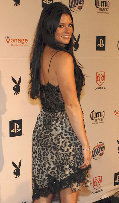 Danica Patrick appears at the Super Bowl Playboy Party in Miami.