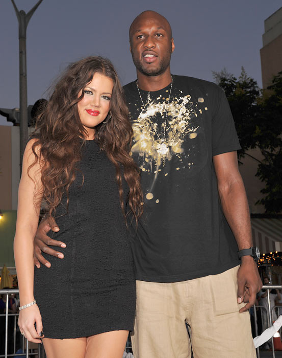 Khloe Kardashian and Lamar Odom arrive on the red carpet of the Los Angeles premiere of 'Whiteout' at the Mann Village Theatre in Los Angeles.