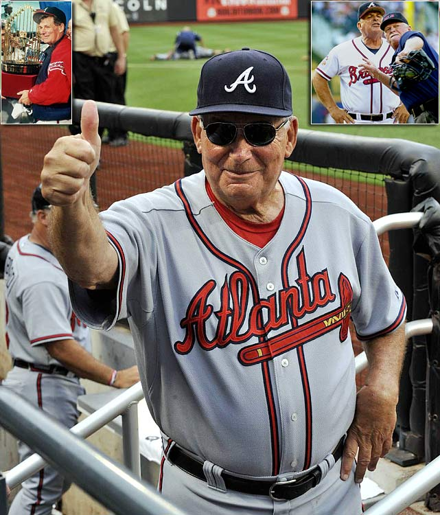 One of two managers with six 100-win seasons, Atlanta's venerable Bobby Cox has said 2010 will be his last season as a manager. He led the Braves to the 1995 World Series title and guided Atlanta to a record 14 consecutive division titles, from 1991 to 2005. The four-time manager of the year also oversaw the Toronto Blue Jays for four seasons, beginning in 1982.