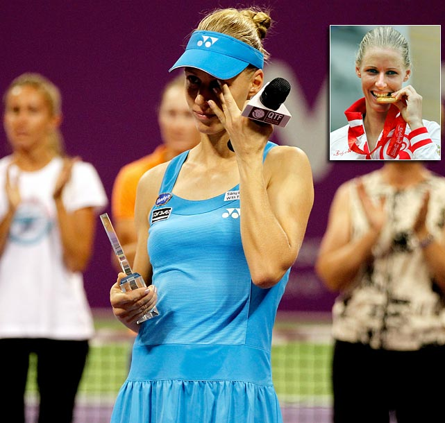 Following a season-ending loss to Francesca Schiavone at the WTA Championships in Qatar in October, Elena Dementieva announced her retirement in a tearful on-court ceremony. A two-time Grand Slam runner-up, Dementieva made it to No. 3 in the rankings and captured Olympic gold at the Beijing Games, but never bagged that elusive Grand Slam title.