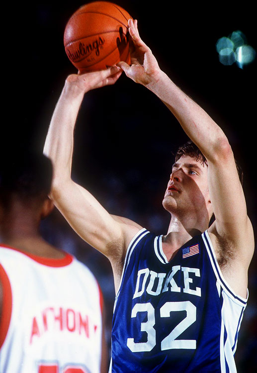 The Runnin' Rebels absolutely embarrassed Duke in the 1990 national title game, beating the Blue Devils 103-73, and UNLV entered the 1991 national semifinal with a perfect 34-0 record (and 45-game winning streak). Duke earned sweet redemption by shocking the Rebels 79-77 in the national semifinal. In a fabulous bout that featured 17 ties and 25 lead changes, Christian Laettner scored the Blue Devils' winning points by draining two free throws with 12.7 seconds left. Duke went on to beat Kansas in the title game.