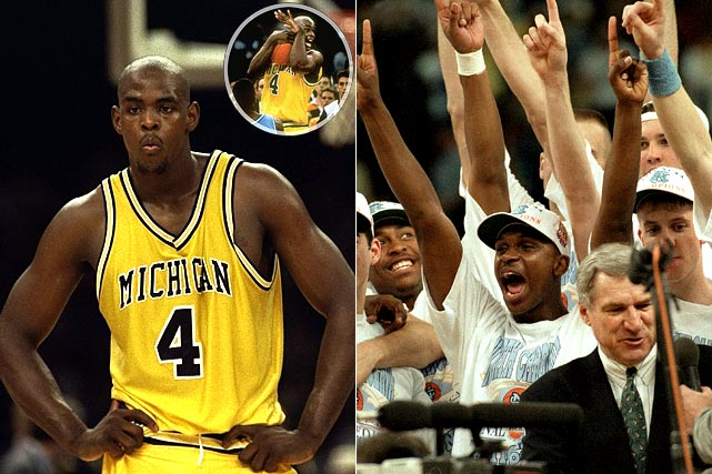 The Fab Five is unquestionably one of the most influential units in college basketball history. Ironically, the talented Wolverines will always be remembered for an epic miscue. Chris Webber corralled a rebound with under 20 seconds left and Michigan trailing North Carolina 73-71. After appearing to travel, Webber dribbled the ball the length of the court before getting trapped right in front of the Michigan bench. The All-American instinctively called a timeout. Unfortunately, Michigan had none remaining. The Wolverines were assessed a technical foul and the Tar Heels went on to win 77-71.