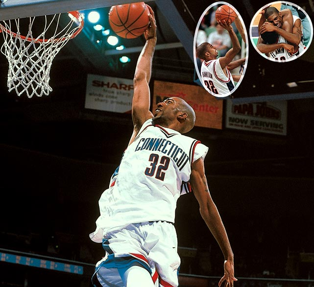 Down by one point to Washington with the clock winding down, UConn PG Khalid El-Amin drove to the hoop before passing to an open Jake Voskuhl. Voskuhl tossed up a shot in the lane, but missed. Richard Hamilton corralled the rebound and got a great look from point-blank range, but he missed it. The ball was tipped around between multiple players before landing back in Hamilton's hands. Rip quickly released a fadeaway jumper from just inside the free-throw line and it splashed through the net as the buzzer sounded.