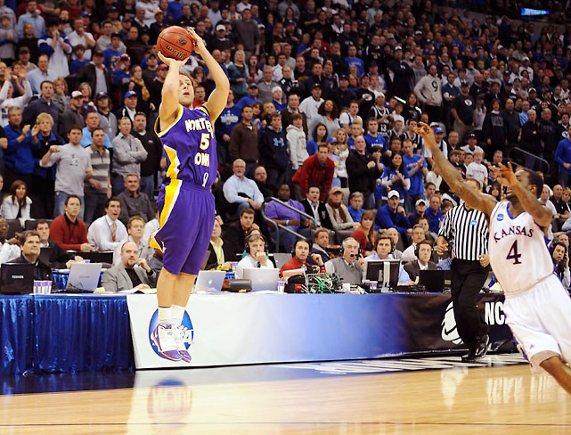 After spending most of the season as the nation's No. 1 team, Kansas entered the tournament as the prohibitive favorite to cut down the nets. But the Jayhawks had no answer for Northern Iowa's Mr. Clutch, Ali Farokhmanesh. Northern Iowa had Kansas on the ropes all game, but the Jayhawks employed an effective full-court press to get back into the game in the final minute. Then Farokhmanesh, who hit the game-winning shot in Northern Iowa's first-round win over UNLV, delivered the knockout blow. With 35 seconds left and UNI clinging to a one-point lead, Farokhmanesh got the ball on the right wing on a 2-on-1 fastbreak. Instead of attacking the hoop or running some clock, Farokhmanesh pulled up and hit a cold-blooded three-pointer that effectively finished off KU.