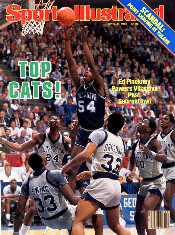 Villanova's magical 66-64 victory over defending national champ and No. 1-ranked Georgetown in the 1985 tournament final was one of the greatest upsets in sports history.  The eighth-seeded Wildcats concluded their Cinderella story by going nearly perfect from the field, converting 78.6 percent.  Senior Ed Pinckney matched up against Naismith award-winner Patrick Ewing and scored 16 points, solidifying his bid for the Tournament's Most Outstanding Player.