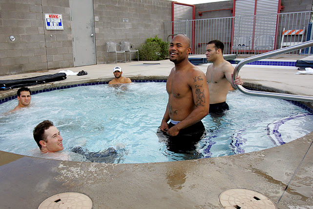 The All-Star outfielder enjoyed a soak while training at the Athletes Performance Institute during the offseason.