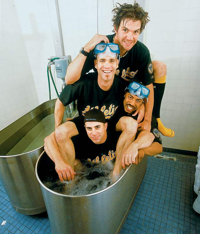 "The A's quartet posed in the whirlpool as part of an SI story on the ""Coolest Team In Baseball."""