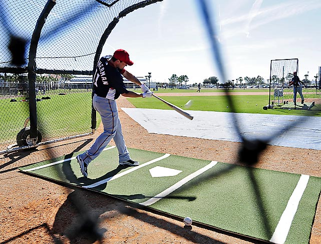 Washington Nationals third baseman Ryan Zimmerman squeezes in batting practice at the Carl Barger Baseball Complex in Florida.