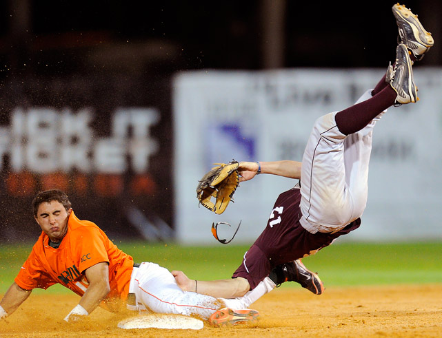 Fordham University infielder Brian Kownacki was wiped out by a sliding Frankie Ratcliff of Miami at Alex Rodriguez Park on March 16 in Coral Gables. Fordham defeated Miami 4-3.