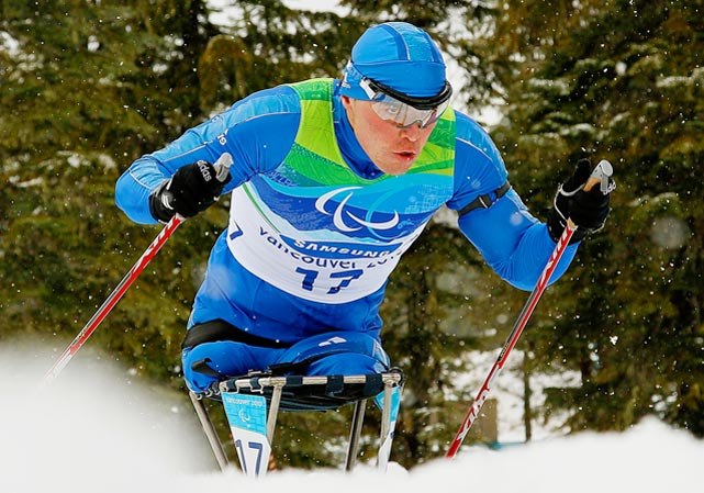 Irek Zaripov of Russia won the gold medal in the 12.5 km sitting biathlon at the 2010 Vancouver Winter Paralympics on March 17.
