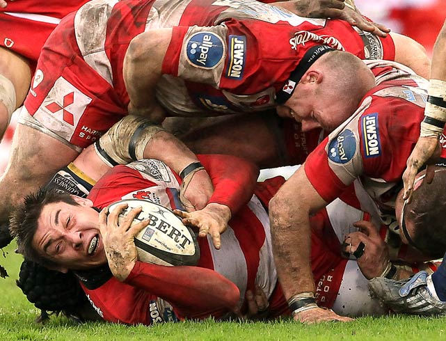 Gareth Delve of Gloucester holds onto the ball during a Guinness Premiership home match against Leeds Carnegie on March 27.  Gloucester won 19-0.