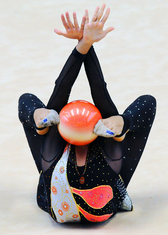 Katherine Arias of Venezuela performs in the individual ball competition during the IX South American Games on March 28 in Medellin, Colombia. Arias finished in 8th place to winner and fellow Venezuelan Andreina Acevedo.