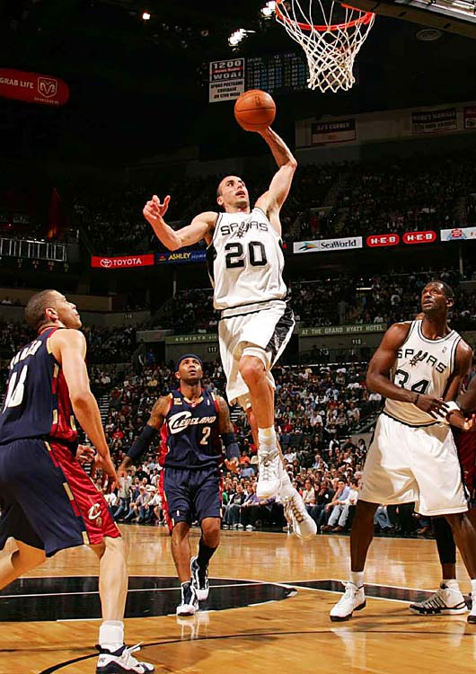 San Antonio guard Manu Ginobili drives to the hoop against Cleveland on March 26 at the AT&T Center in San Antonio. Ginobili had a game-high 30 points in the 102-97 victory.