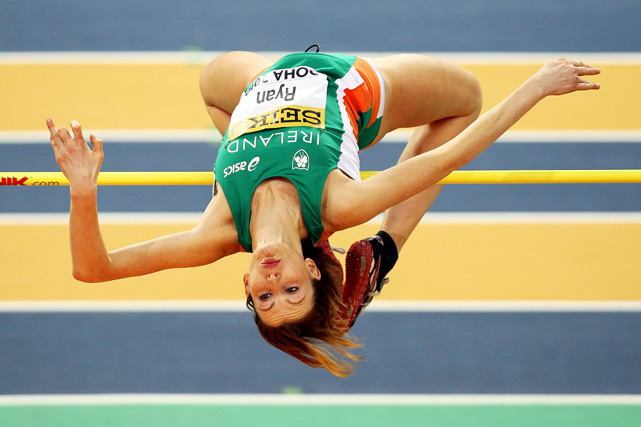 Deirdre Ryan of Ireland competes in the high jump during Day 1 of the IAAF World Indoor Championships at the Aspire Dome on March 12 in Doha, Qatar.